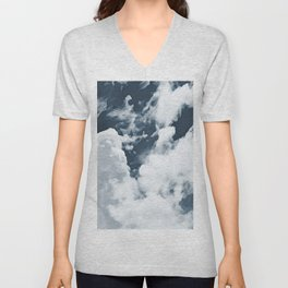 Abstract navy blue gray white watercolor hand painted clouds Unisex V-Neck