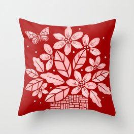 Blooming Basket (Red) Throw Pillow