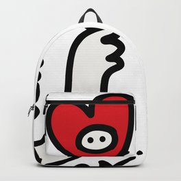 Black and White Graffiti Creature with a red heart in hand Backpack
