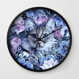 Cat In Flowers. Winter Wall Clock