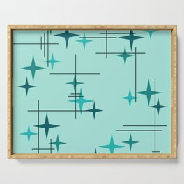Mid Century Modern Stars Turquoise Serving Tray