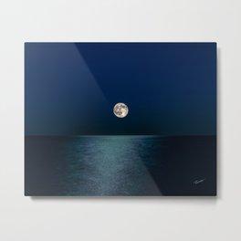 Moon Rising Over Lake Michigan Metal Print
