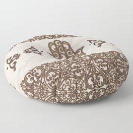 Hamsa Hand - Hand of Fatima  wooden texture Floor Pillow