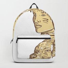 Native American Woman Wearing Wolf Headdress Backpack