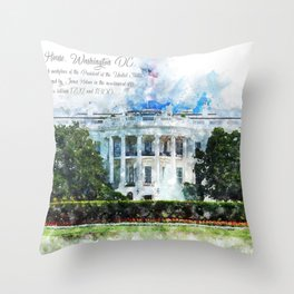 White House, Washington DC, Watercolor Throw Pillow
