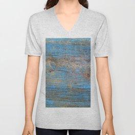Blue Wood Grain Unisex V-Neck
