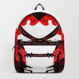 Leather black red bondage spike backpack Backpack