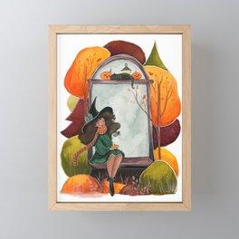 Fall Window Witch  Framed Mini Art Print