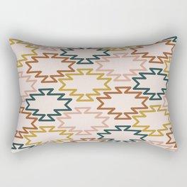 Southwest Azteca - Minimalist Geometric Pattern in Rust, Mustard, Blue, and Blush Rectangular Pillow