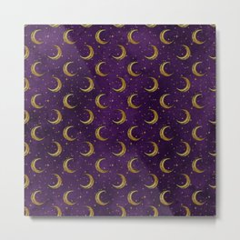 purple sky golden moon Metal Print