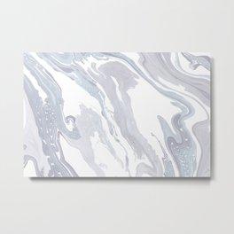 Navy Marble Waves Metal Print