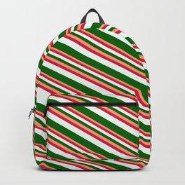 Light Salmon, Crimson, Mint Cream & Dark Green Colored Pattern of Stripes Backpack