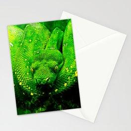green tree python snake splatter watercolor Stationery Cards