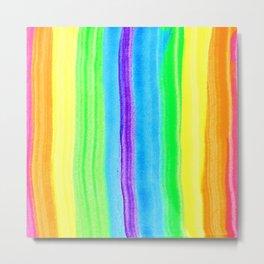 Neon Rainbow Stripes Metal Print