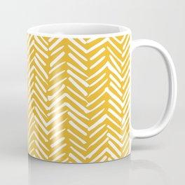 Boho Abstract Herringbone Pattern, Summer Yellow Coffee Mug