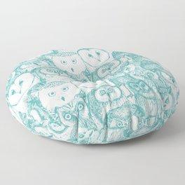 just owls teal blue Floor Pillow