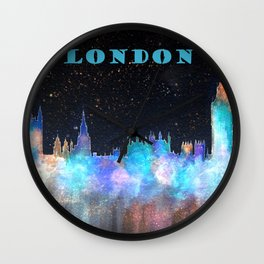 London Skyline With Banner Wall Clock