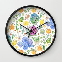 Winter Harvest Pattern Annotated Wall Clock