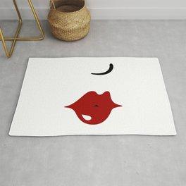 Sexy Betty kissing red lips (vintage lady minimalism style fashion) Rug