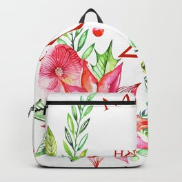 Merry Christmas 2017 Colorful Flowers Christmas Bouquet Backpack