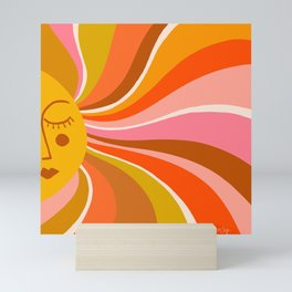 Sunshine Swirl – Retro Ochre Mini Art Print