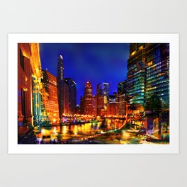 Chicago at Dusk Art Print