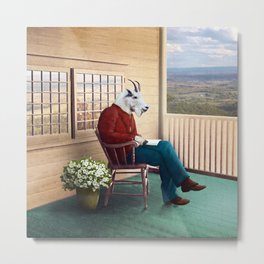 Mr Garwood Goat Reading on the Porch Metal Print