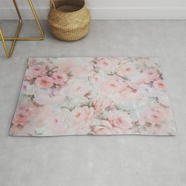 Vintage romantic blush pink teal bohemian roses floral Rug