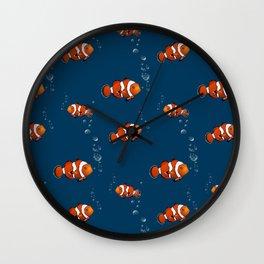 Clown fish illustration pattern Wall Clock