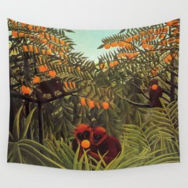 Apes in the Orange Grove by Henri Rousseau 1910 // Colorful Jungle Animal Landscape Scene Wall Tapestry