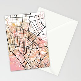 Manila Philippines Watercolor Street Map Color Stationery Cards