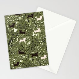 Cats in the Garden Pattern Stationery Cards
