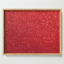 Shiny Sparkly Christmas Cherry Red Glitter Serving Tray
