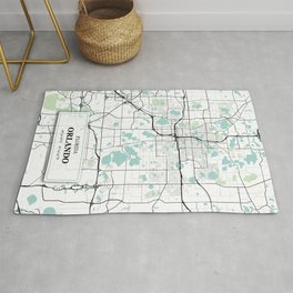 Orlando Florida City Map with GPS Coordinates Rug