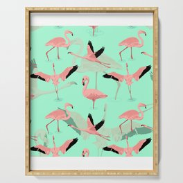 Face Covering Cute Flamingos Mask Neck Gaiter Bandana Neck Gator.jpg Serving Tray