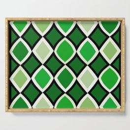 Midcentury Warped Diamonds Green Serving Tray