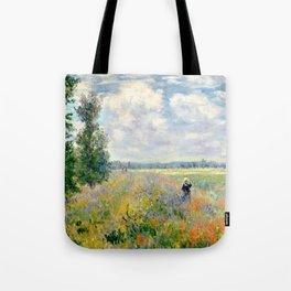 Poppy Fields near Argenteuil by Claude Monet Tote Bag