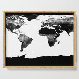 World Map  Black & White Serving Tray