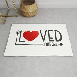 Simple Loved Bible Verse Valentine's Day Typography Rug