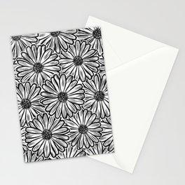 Beautiful Daisy Flower, Halftone Illustration Dark Stationery Cards
