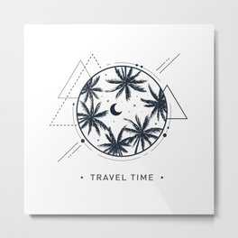 Travel Time. Night Sky And Palms. Geometric Style Metal Print
