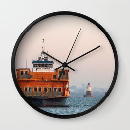 Lighthouse & Staten Island Ferry Wall Clock