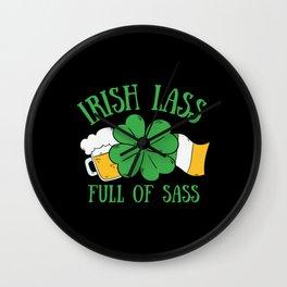 St Patrick's Day Irish Lass Full of Sass Wall Clock