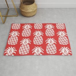 Retro Mid Century Modern Pineapple Pattern Red 2 Rug
