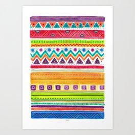 colorful zentangle ethnic dance Art Print