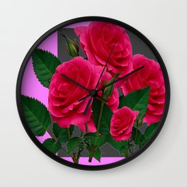 DECORATIVE RED ROSES GARDEN MODERN PINK ART Wall Clock