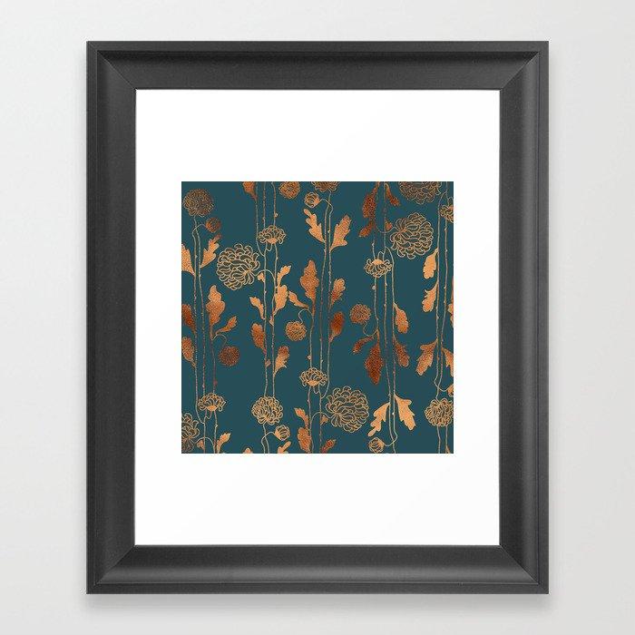 Art Deco Copper Flowers  Gerahmter Kunstdruck