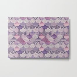 Pale Pink Pastel Glamour Mermaid Scale Pattern Metal Print