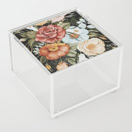 Roses and Poppies Bouquet on Charcoal Black Acrylic Box