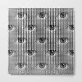 Pop-Art Black And White Eyes Pattern Metal Print